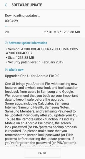 Download and Install Samsung Galaxy A8+ Android 9.0 Pie (One UI)
