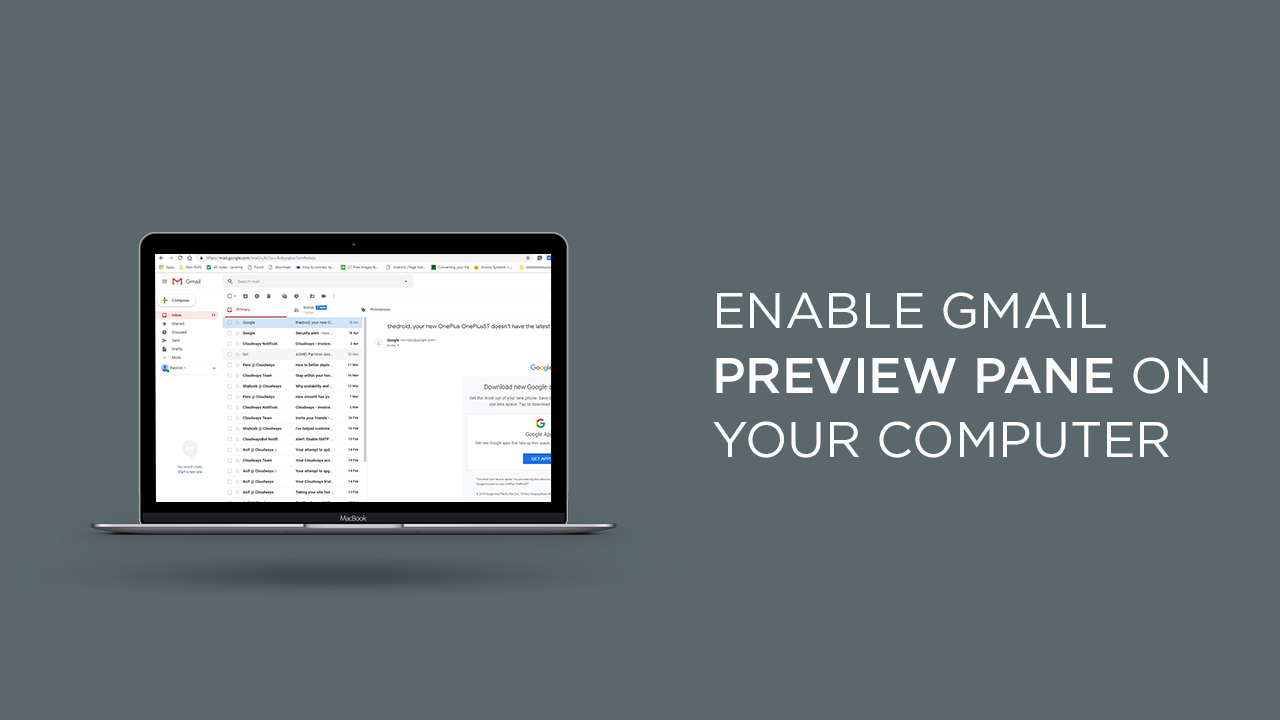 Enable Gmail Preview Pane on your Computer
