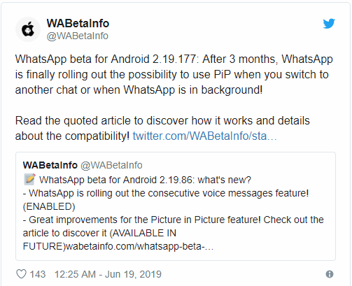 WhatsApp beta 2.19.177 adds PiP Mode [Download APK]